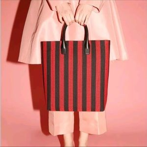 Mansur Gavriel red/black stripe tote